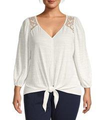 max studio women's plus crochet-trim tie-waist top - white - size 2x (18-20)