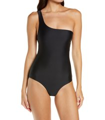 jade swim apex one-shoulder one-piece swimsuit, size x-small in black at nordstrom