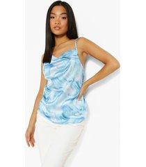 petite marmerprint hemdje met waterval hals, blue