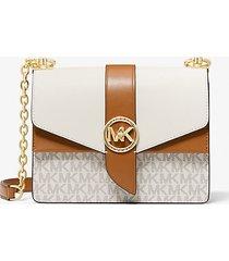 mk borsa a tracolla greenwich piccola in pelle saffiano color-block con logo - vaniglia/ghianda (naturale) - michael kors