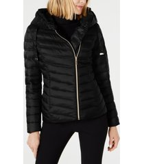 laundry by shelli segal asymmetrical hooded packable puffer coat
