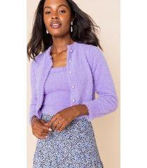 women's antoinette fuzzy pearl cardigan in lavender by francesca's - size: l