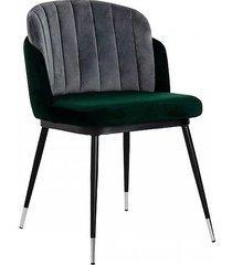 krzesło fotel tapicerowany elvis zielono szary