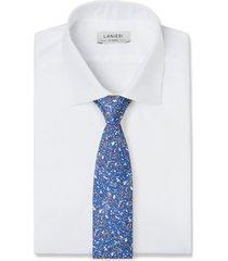 cravatta su misura, lanieri, floral blu elettrico, quattro stagioni | lanieri