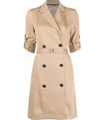 calvin klein double-breasted trench dress - neutrals