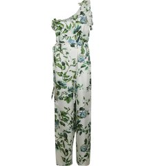 blumarine leaf printed asymmetric jumpsuit
