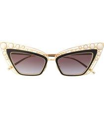 dolce & gabbana eyewear pearl embellished cat eye sunglasses - gold