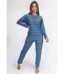 pijama de manga longa raglan estampa digital (cookie) - ref: k2804 - kanui