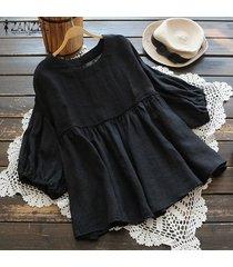 s-5xl zanzea camisa de manga de linterna para mujer tops cuello redondo casual blusa lisa plus -negro