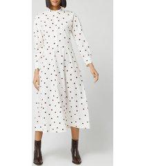 ganni women's spot printed cotton poplin midi dress - egret - eu 34/uk 6