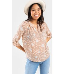 cessie floral notch blouse - taupe