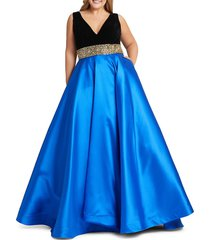 mac duggal women's plus belted colorblock gown - royal blue black - size 18w