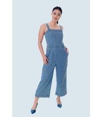 macacão jeans pantacourt - feminino