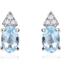 orecchini a lobo in oro bianco con topazio ovale azzurro e zirconi per donna