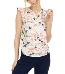 maison jules printed split-neck top, created for macy's