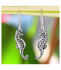 sterling silver dangle earrings, 'seahorse couple' (thailand)