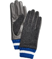 calvin klein leather & knit combo gloves