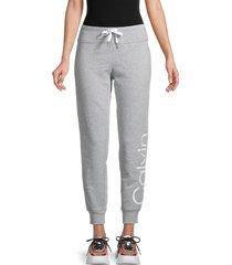 calvin klein performance women's logo cotton-blend jogger pants - pearl heather grey - size xl