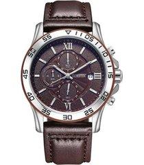 orologio da polso da uomo al quarzo cronografo multifunzione da polso da uomo in pelle