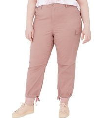 celebrity pink trendy plus size cropped cargo pants