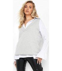 gebreide 2-in-1 tank top en blouse, grey