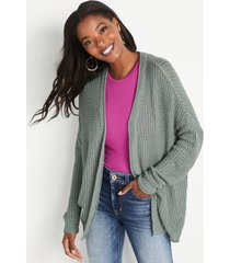 maurices womens solid oversized lounge cardigan green