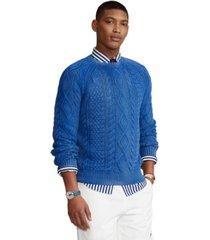 polo ralph lauren men's big & tall aran-knit cotton sweater