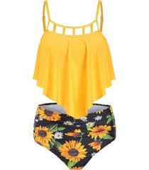 cut out sunflower overlay tankini set