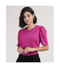 camiseta feminina básica manga bufante decote redondo pink