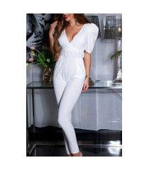 sexy korte mouwen jumpsuit / overall met riem wit