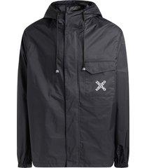black windproof kenzo sport jacket with logo