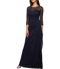 women's alex evenings embellished a-line gown, size 18 (similar to 14w) - blue