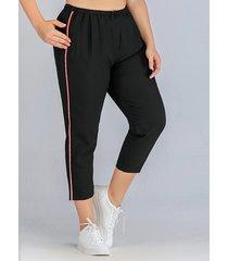 plus size black elastic strap patch stripe pants