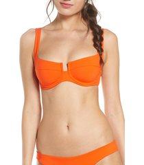 women's l space camellia underwire bikini top, size x-small - orange
