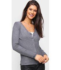 tricô top modas aberto decote v feminino - feminino