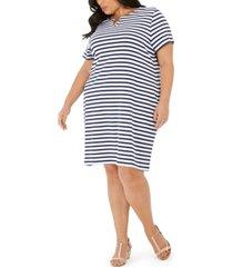 karen scott plus size cotton janna striped split-neck dress, created for macy's