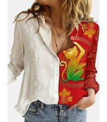 camicetta patchwork con colletto rovesciato manica lunga stampata scimmia del fumetto per le donne