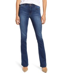petite women's wit & wisdom ab-solution high waist itty bitty bootcut jeans, size 16p - blue (regular & petite) (nordstrom exclusive)