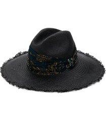 brunello cucinelli scarf-embellished straw hat - black