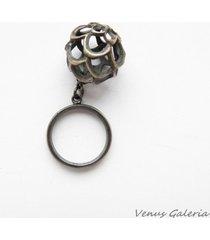 pierścionek srebrny - ażurowa kula