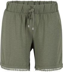 shorts in jersey con cinta comoda e pizzo (verde) - bpc bonprix collection
