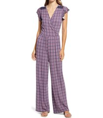 loveappella print faux wrap jumpsuit, size x-small in navy/blush at nordstrom