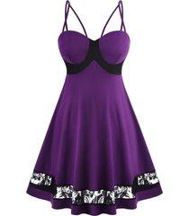 lace panel bustier strappy plus size dress