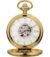 ouyawei orologio da taschino meccanico vintage, numeri romani, orologio da polso con pendente, gioielli etnici per uomo