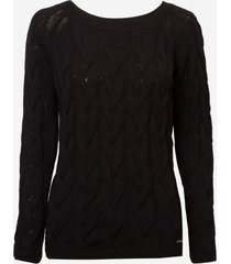 suéter dudalina manga trançada tricot feminino (bege medio, gg)