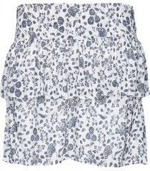 rok met bloemenprint en lurex isabel  wit