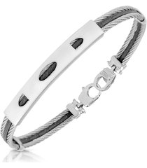 forzieri designer men's bracelets, stainless steel bracelet with rectangular plaque