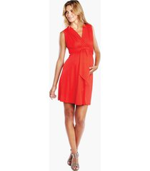 women's maternal america tie front maternity dress, size large - red