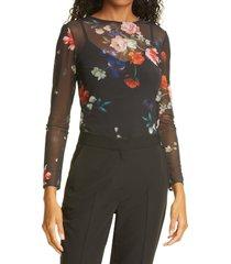 women's ted baker london tilliyy floral long sleeve top, size 5 - black