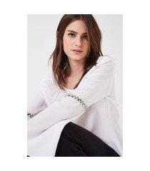 camisa seda decote v bordado manga branco - 36
